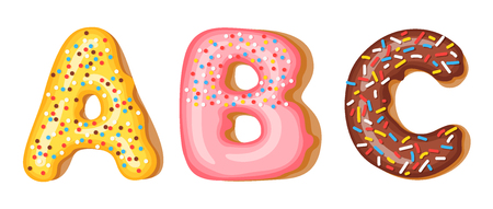 Donut icing upper latters - A, B, C. Font of donuts. Bakery sweet alphabet. Donut alphabet latters A b C isolated on white background, vector illustration