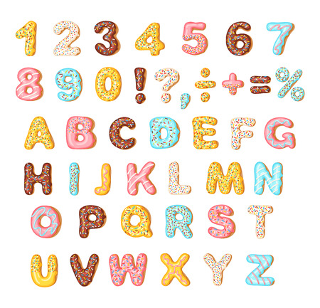 Cookies with colorful glaze set, alphabet and numbers, isolated on white background, vector illustration Illustration