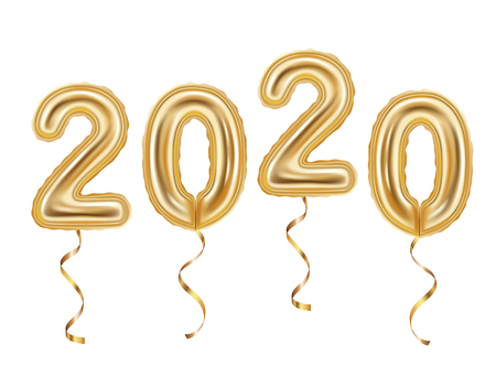 Realistic golden balloons decoration, 2020 happy new year celebration, isolated on white background vector illustration