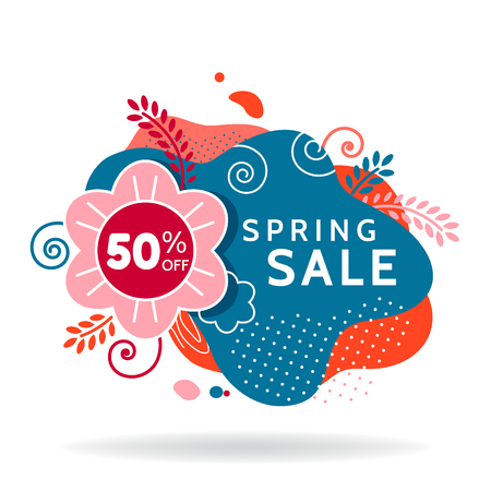 Colorful spring sale banner, invitation poster, colorful advertising flyer with flower and leaves, 50% off, vector illustration