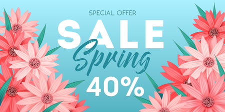 Spring sale banner, special offer, advertising with pink flowers on blue background, invitation, poster, colorful flyer, vector illustration