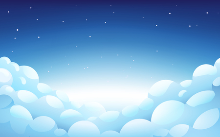 Blue night Sky With White fluffy clouds and stars, Landscape, Background With Blue Clouds, Night Sky, Vector Illustration