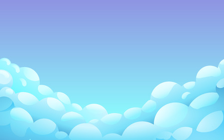 Blue night Sky With White fluffy clouds, Landscape, Background With Blue Clouds, Night Sky, Vector Illustration