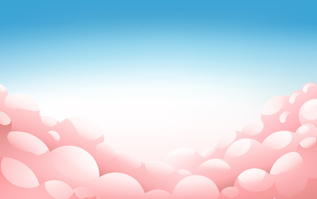 Pink fluffy clouds in the blue sky at sunset, Landscape, Sunset Background With Pink Clouds, Vector Illustration 版權商用圖片 - 124770842