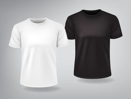 Białe i czarne casualowe koszulki z krótkimi rękawami makiety, miejsce na nadruk, szablon, na białym tle, ilustracji wektorowych