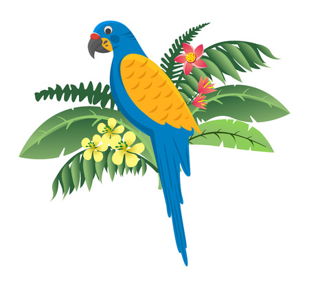 Colorful bird, parrot icon with blue body and yellow wings sitting in flowers and green leaves, vector illustration isolated on white background