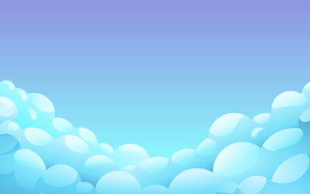 Blue night Sky With White fluffy clouds, Landscape, Background With Blue Clouds, Night Sky, Vector Illustration 版權商用圖片 - 124770848