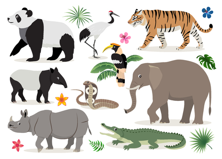Set of cute wild animals and birds icon, decor for children, cartoon tiger, rhinoceros, panda, elephant, alligator, hornbill, cobra, crane, tapir vector illustration isolated on white background