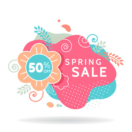 Colorful spring sale banner, invitation poster, colorful advertising flyer with flower and leaves, 50 off, vector illustration 版權商用圖片 - 124770853