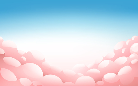 Pink fluffy clouds in the blue sky at sunset, Landscape, Sunset Background With Pink Clouds, Vector Illustration