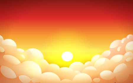 The sun sets in fluffy red-orange clouds., sunset gradient, landscape, background with clouds, vector illustration