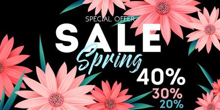 Spring sale banner, special offer, advertising with pink flowers on black background, invitation, poster, colorful flyer, vector illustration Illustration