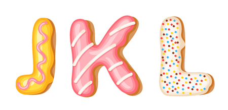 Donut icing upper latters - J, K, L. Font of donuts. Bakery sweet alphabet. Donut alphabet latters A b C isolated on white background, vector illustration