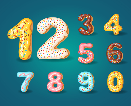 Font of donuts. Bakery sweet alphabet. Alphabet numbers Donut icing colors style 0,1,23456789 0 Vector illustration
