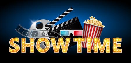 Cinema concept, showtime banner, poster design with popcorn, 3d glasses, film tape, clapperboard, vector illustration