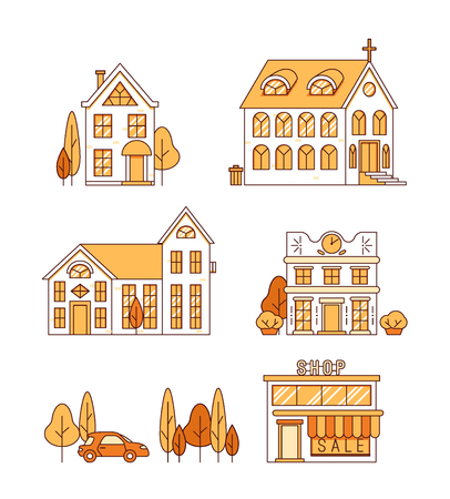 Line art, set of houses, church and shop, cityscape concept, town street with trees, estate collection, vector illustration Illustration