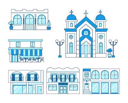 Line art set of houses with balcony, church, shop, cafe with chairs and tables outdoors, cityscape concept, town street, estate collection, vector illustration
