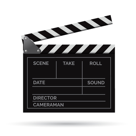 Vector realistic movie clapper slapstick with markup front isolated on white background.