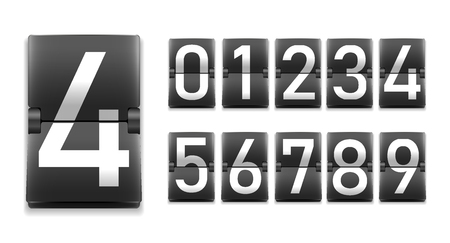Set of numbers, white digits on black in mechanical scoreboard style, realistic template, vector illustration