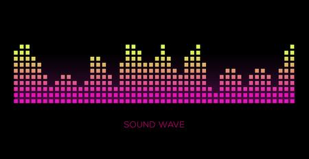Colorful sound waves on black background set, audio player, equalizer, musical pulse, vector illustration 版權商用圖片 - 124514410