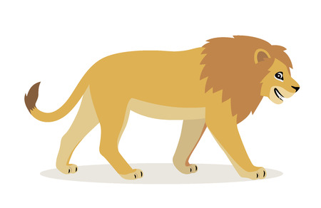 African animal, cute funny lion icon isolated on white background, big wild cat with fluffy mane, vector illustration in flat style Ilustração