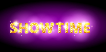 Show time bulb letters advertisement vector illustration. showtime Colorful purple shining background