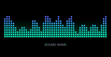 Colorful sound waves on black background set, audio player, equalizer, musical pulse, vector illustration 版權商用圖片 - 124514418