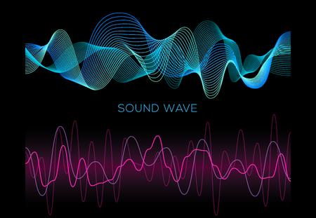 Colorful sound waves on black background set, audio player, equalizer, musical pulse, vector illustration 版權商用圖片 - 124514420