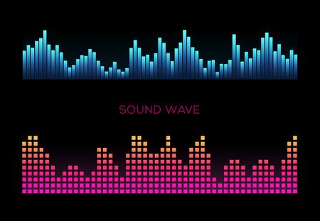 Colorful sound waves on black background set, audio player, equalizer, musical pulse, vector illustration 版權商用圖片 - 124514421