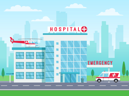 Hospital building with ambulance helicopter on roof and car standing on road, medical services, clinic building with big windows, vector illustration in flat style