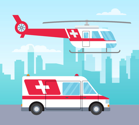 White and red ambulance helicopter and car, medical services concept, transport, vector illustration in flat style 版權商用圖片 - 124392118