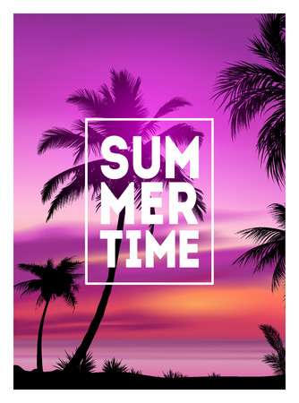 Summer tropical background with palms, sky and sunset. Summer placard poster flyer invitation card. Summertime 向量圖像