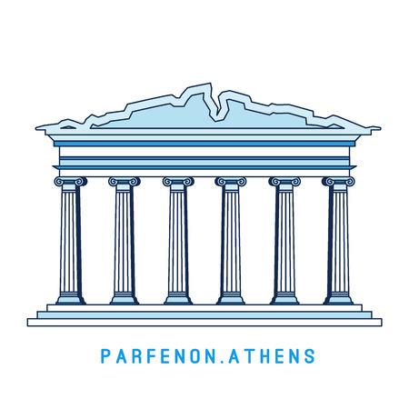 Strichzeichnungen Parthenon, Athen, Griechenland, europäischer berühmter Anblick, alter Tempel, Vektorgrafik im flachen Stil Vektorgrafik