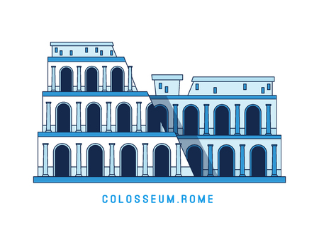 Line art Colosseum, Rome, Italy, European famous sight, amphitheater, vector illustration in flat style