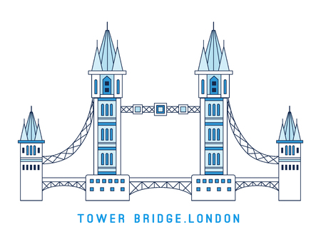 Line art Tower Bridge, England, symbol of London, European famous sight, vector illustration in flat style