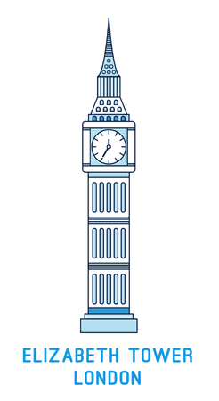 Line art Elizabeth Tower, Big Ben, symbol of London, England, famous clock tower, vector illustration in flat style