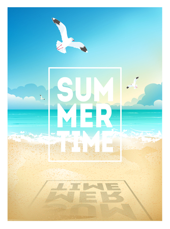 Summer beach background with sea, sky, seagulls and sunrise. Summer placard poster flyer invitation card. Summertime
