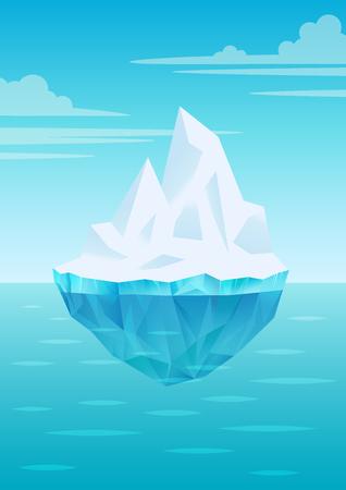 Eisberg, der auf Wasserwellen mit Unterwasserteil schwimmt, strahlend blauer Himmel mit Wolken, Süßwassereis, Gletscher oder Schelfeisstück, Vektorillustration Vektorgrafik