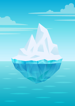 Iceberg floating on water waves with underwater part, bright blue sky with clouds, freshwater ice, glacier or ice shelf piece, vector illustration