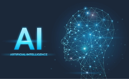 Artificial intelligence, AI concept visualization, neural networks, face, head silhouette with signals, vector illustration