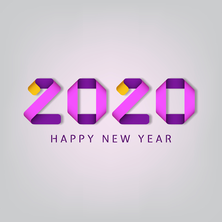 Inscription Happy new year 2020 on white background. Colorful inscription with 3d effect. Vector illustration.  イラスト・ベクター素材
