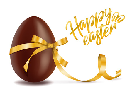 Happy easter card, chocolate egg with yellow ribbon decor, postcard with traditional dessert, tasty gift, vector illustration
