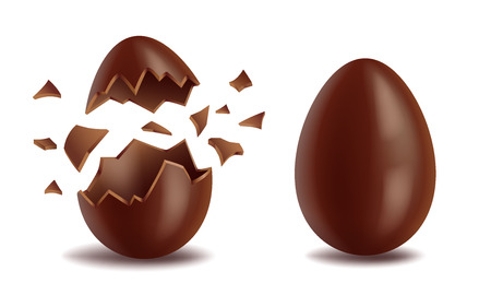 Realistic chocolate eggs set, broker, exploded and whole, sweet tasty eggshell, easter symbol, vector illustration isolated on white background Illustration