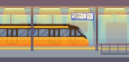 Modern passenger electric high-speed train in tunnel underground, subway, metro station interior with transport, vector illustration flat style