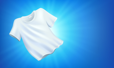 Bright white clean clothes, clean laundry on blue background, realistic fluttering T-shirt, vector illustration 向量圖像