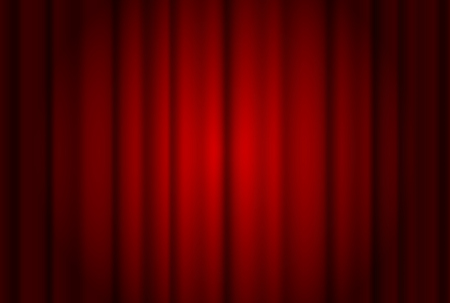 Red curtains wide background illuminated by a beam of spotlight. Vector illustration