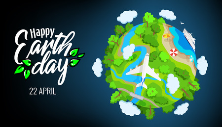 Earth Day 22 april banner, planet globe with trees, rivers and clouds, plane and ship in sea, environment elements, landscape, ecology, vector illustration Vectores