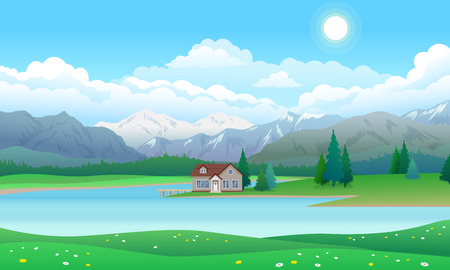 Schöne Landschaft mit Haus mit Pier am See, Wald mit Pinien und Bergen, blauer Himmel mit Wolken und Sonne, Vektorillustration flacher Stil Vektorgrafik
