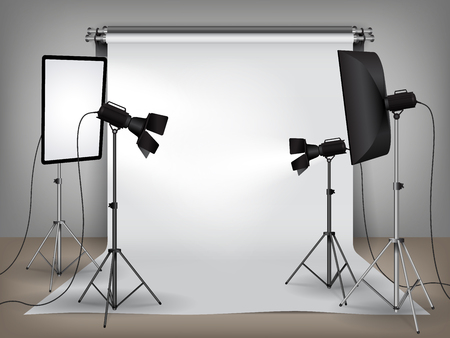 Realistic photo studio with lighting, softboxes on tripod stands and spotlights equipment and white backdrop, photo background mock up vector illustration