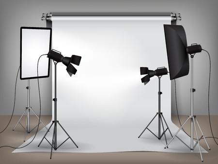 Realistische fotostudio met verlichting, softboxen op statief stands en schijnwerpers apparatuur en witte achtergrond, foto achtergrond mock up vectorillustratie